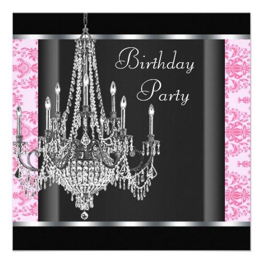 Pink Black Damask Chandelier Birthday Party Custom Announcement