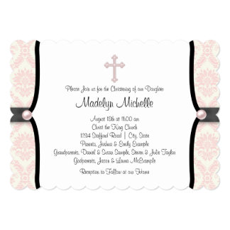 Pink Black Damask Christening Card
