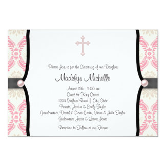 Pink Black Damask Christening Card