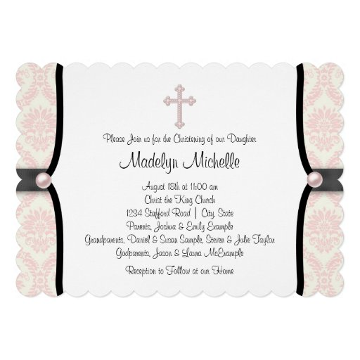 Pink Black Damask Christening Personalized Invitations