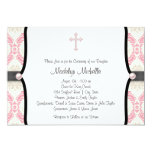 Pink Black Damask Christening Personalized Announcements