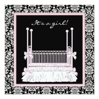 Pink Black Damask Crib Baby Girl Shower 13 Cm X 13 Cm Square Invitation Card