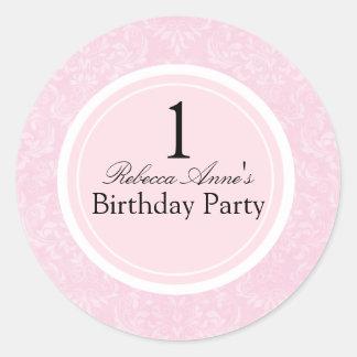 Pink & Black Damask First Birthday Party Sticker