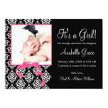 Pink Black Damask Girl Photo Birth Announcement