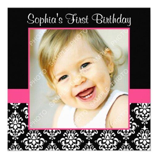 Pink Black Damask Girls Photo 1st Birthday Party Invitation