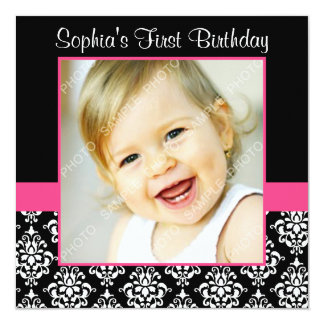 "Pink Black Damask Girls Photo 1st Birthday Party 5.25"" Square Invitation Card"