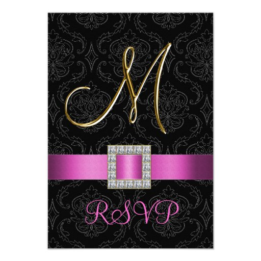 Pink Black Damask Gold Initial M Wedding RSVP Invitations