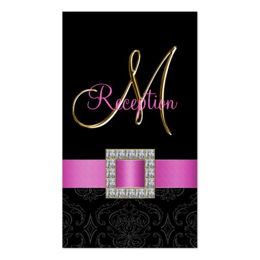 Pink, Black Damask Gold Initial Wedding Reception Business Card