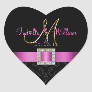 Pink, Black Damask Gold Initial Wedding Sticker