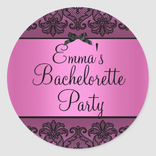 Pink & Black Damask Lace Bachelorette Sticker