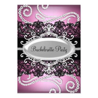 Pink Black Damask Lace & Jewels Bachelorette Party 13 Cm X 18 Cm Invitation Card