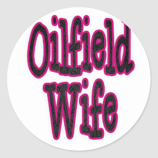 Pink/Black Damask Oilfield Wife Classic Round Sticker