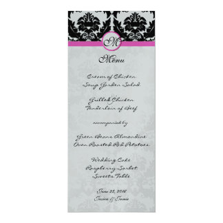 Pink & Black Damask on Silver Metallic Wedding 10 Cm X 24 Cm Invitation Card