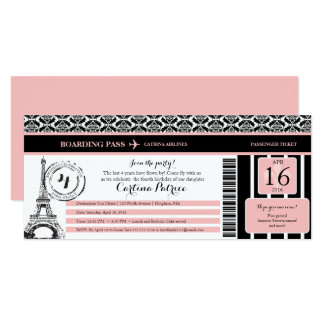 Pink Black Damask Paris Birthday Boarding Pass Card