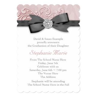 Pink Black Damask Photo Graduation Announcements
