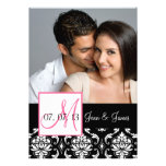 Pink Black Damask Photo Save the Date Personalized Invitation