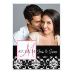 Pink Black Damask Photo Save the Date 13 Cm X 18 Cm Invitation Card