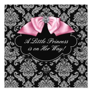 Pink Black Damask Princess Baby Girl Shower Card