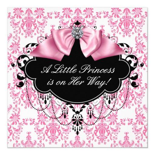 Pink Black Damask Princess Baby Shower 13 Cm X 13 Cm Square Invitation Card