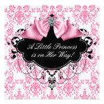 Pink Black Damask Princess Baby Shower Personalised Invitation