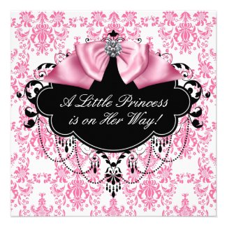 Pink Black Damask Princess Baby Shower Personalised Invitation