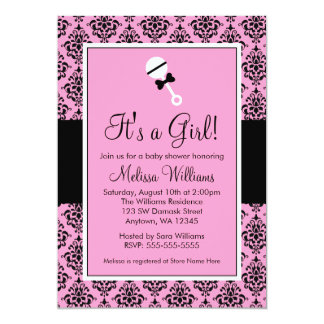 Pink Black Damask Rattle Baby Shower Invitations