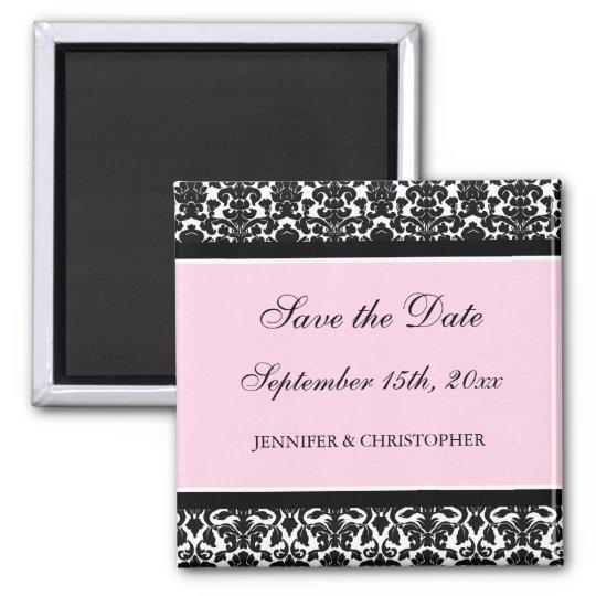 Pink Black Damask Save the Date Magnet