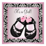 Pink Black Damask Shoes Baby Girl Shower Personalized Announcement