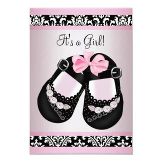 Pink Black Damask Shoes Baby Girl Shower RSVP Card