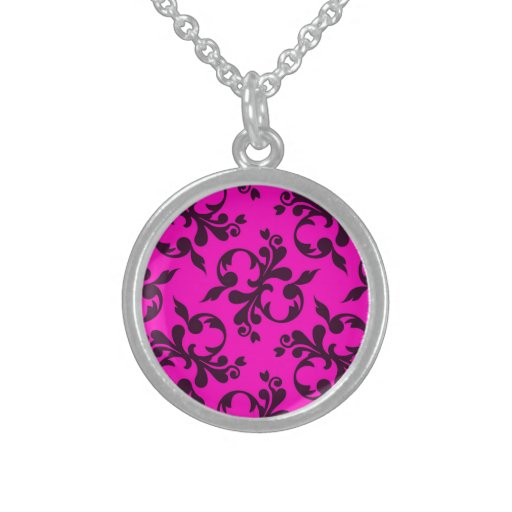 Pink & Black Damask Sterling Silver Round Necklace