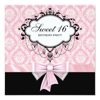 Pink Black Damask Sweet 16 Birthday Party Card