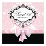 Pink Black Damask Sweet 16 Birthday Party Personalized Invite
