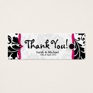 Pink & black damask Wedding favor Gift tag Mini Business Card