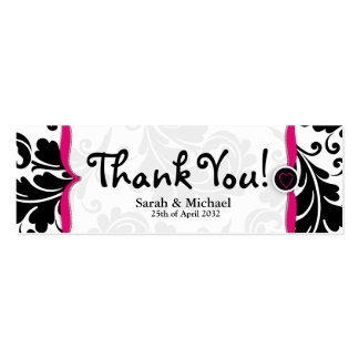 Pink & black damask Wedding favor Gift tag Pack Of Skinny Business Cards