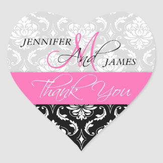 Pink, Black Damask Wedding Favor Heart Sticker