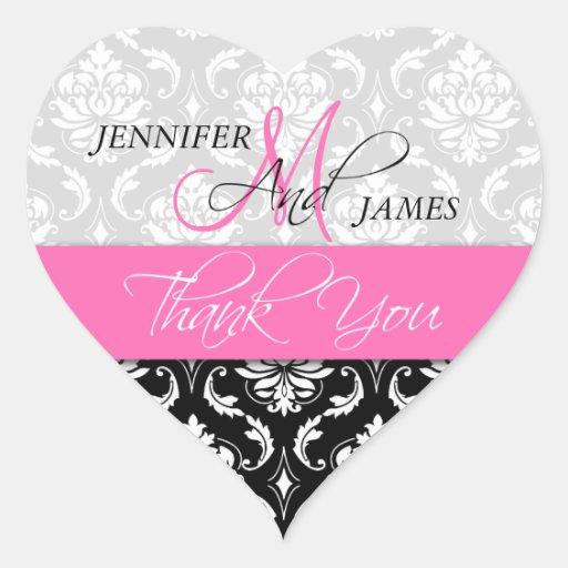 Pink, Black Damask Wedding Favor Heart Sticker
