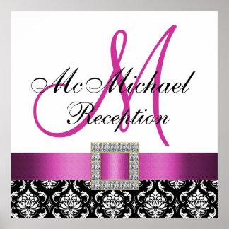 Pink Black Damask Wedding Reception Sign