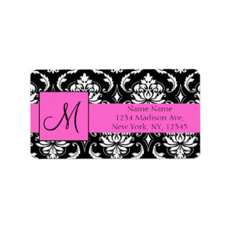Pink Black Damask Wedding RSVP Return Address Address Label