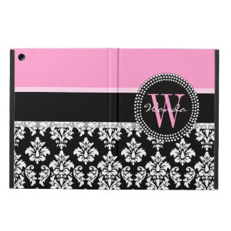 Pink, Black Damask Your Initial, Your Name iPad Air Cases