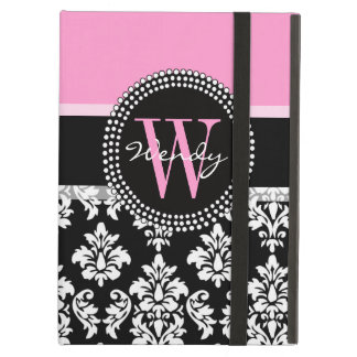 Pink, Black Damask Your Initial, Your Name iPad Covers