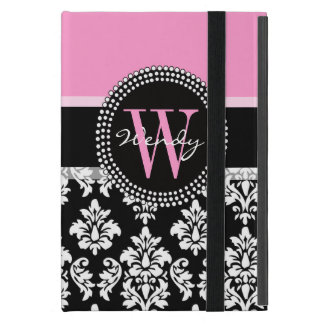 Pink, Black Damask Your Initial, Your Name iPad Mini Covers