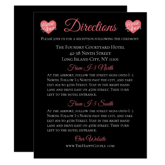 Pink & Black Details Directions Love Heart Forever Card