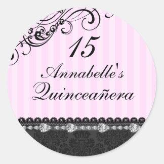 Pink & Black Diamond Damask Quinceanera Sticker