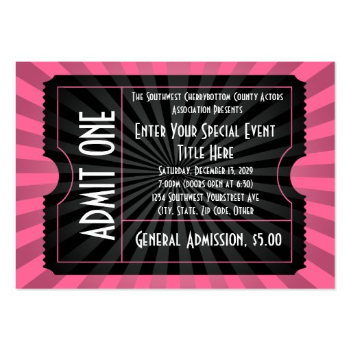 Pink+ Black Event Ticket, Lg Business Card Size