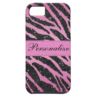 Pink & Black Faux Glitter Zebra Animal Print Case For The iPhone 5