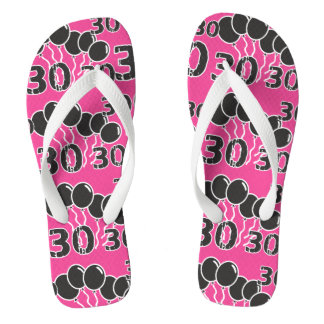 PINK BLACK Festive 30th Birthday Thongs