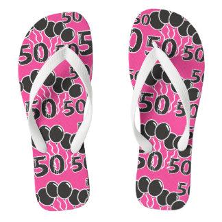 PINK BLACK Festive 50th Birthday Flip Flops Thongs