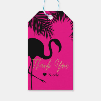 Pink & Black Flamingo & Palm Party Favor Custom Gift Tags