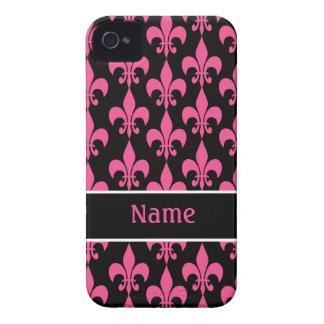 Pink Black Fleur de Lis iPhone 4/4S Case