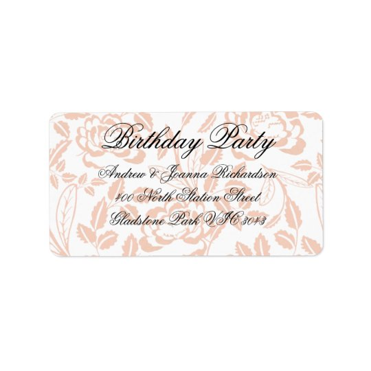 Pink & Black Floral Damask Address Label